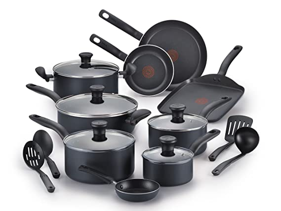 T-fal A821SI64 Initiatives Nonstick 18-Piece Cookware Set, Black