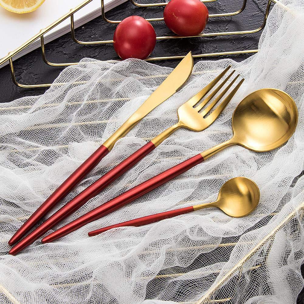 Cutlery Set Fashion Tableware Set Stainless Steel Cutlery 4pc Western Food Tableware Luxury Fork Teaspoon Knife Cutlery Set (Color : Red) by Sihui