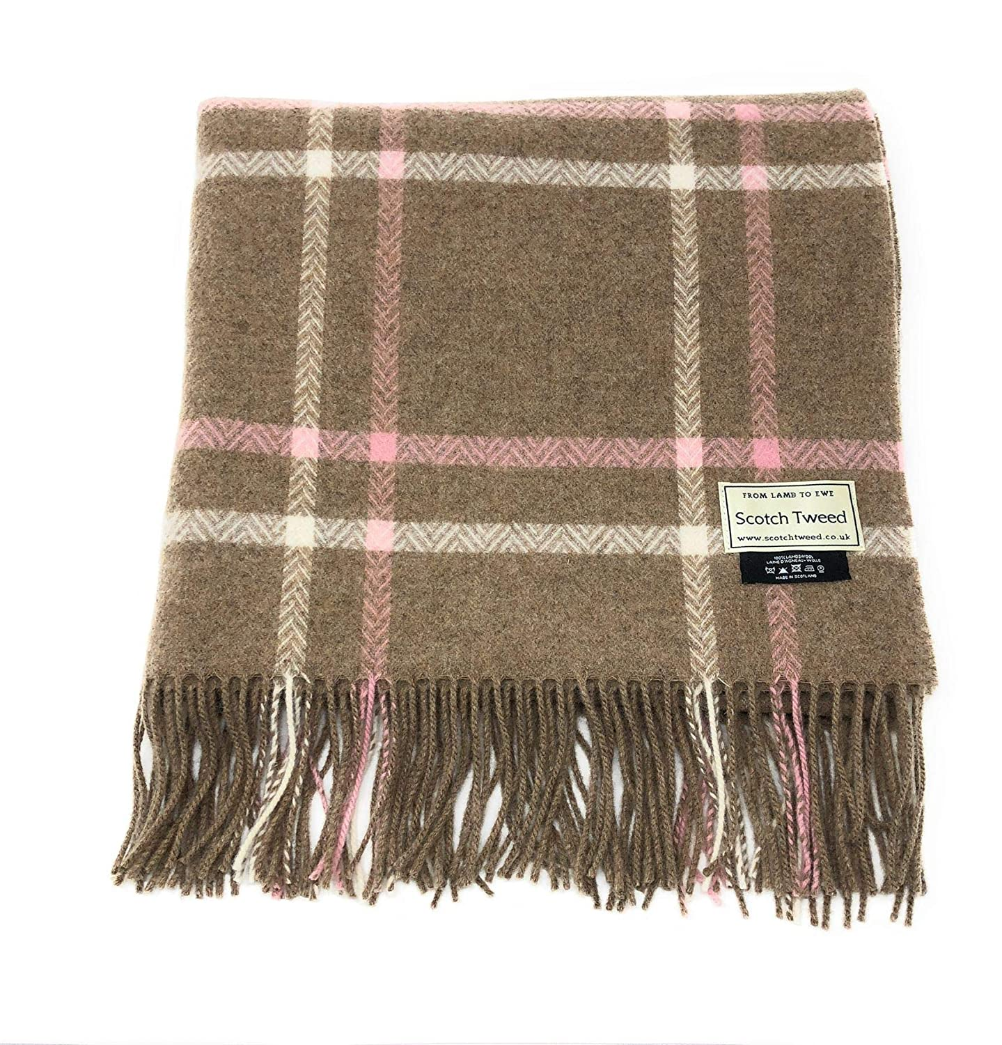 Fawn /& Pink Check Made in Scotland 100/% Lambswool Oversized Blanket Style Scarf//Wrap