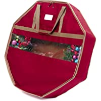 "CoverMates – 36"" Holiday Structured Wreath Storage Bag – 3 Year Warranty- Red"