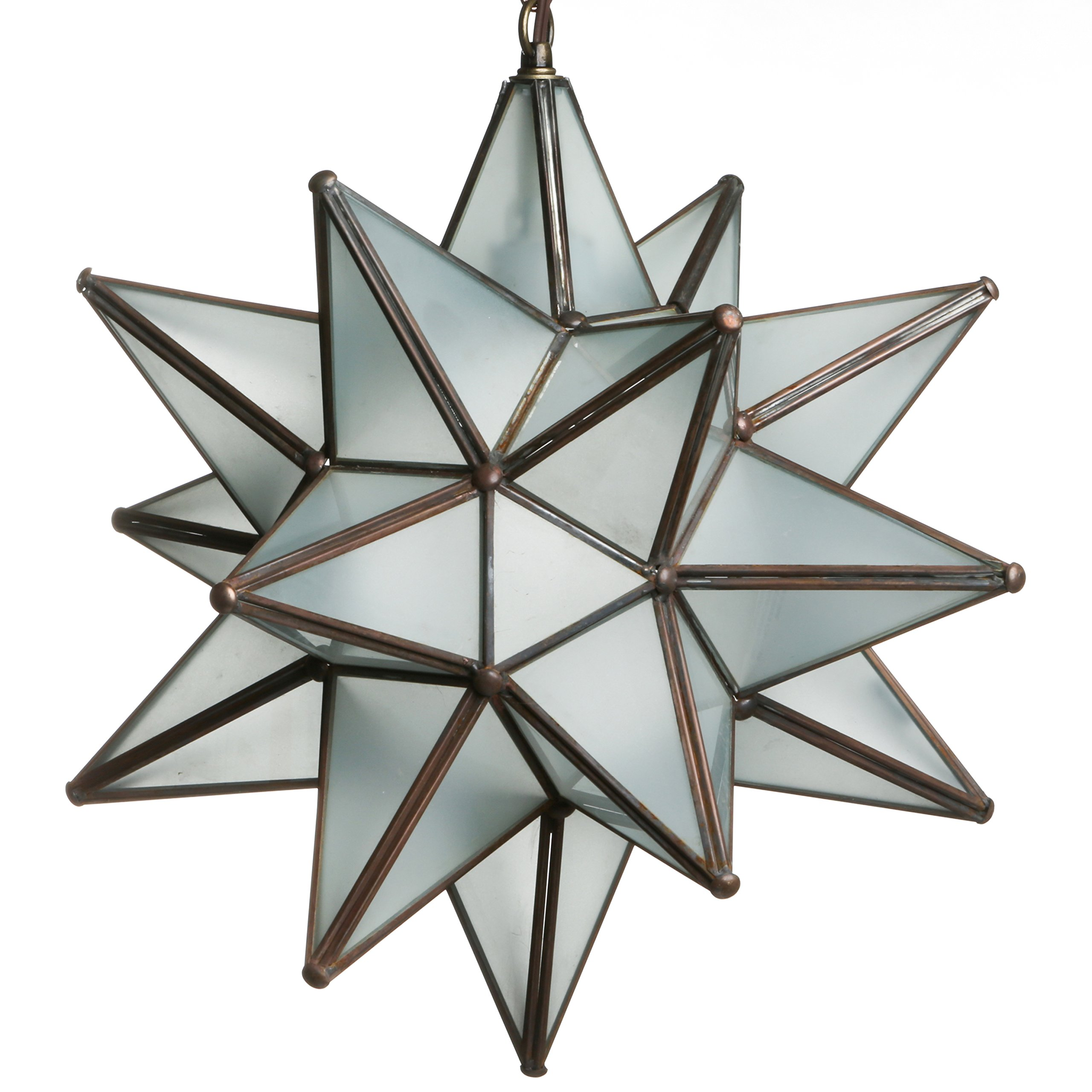 15 Inch Hanging Frosted White Glass Star Pendant Lamp