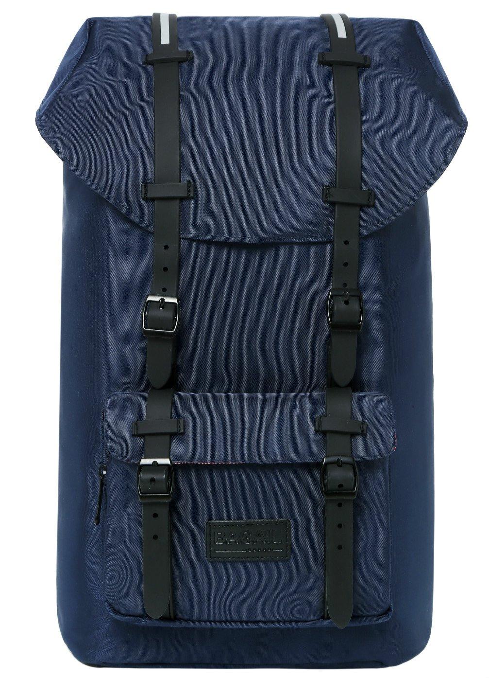 Bagail Casual Large Vintage Canvas Travel Backpacks Laptop College School Bags Dark Blue