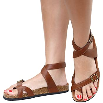 BD26 Women's Adjustable Strap Toe-Loop Criss Cross Cork Flat Sandals Slides