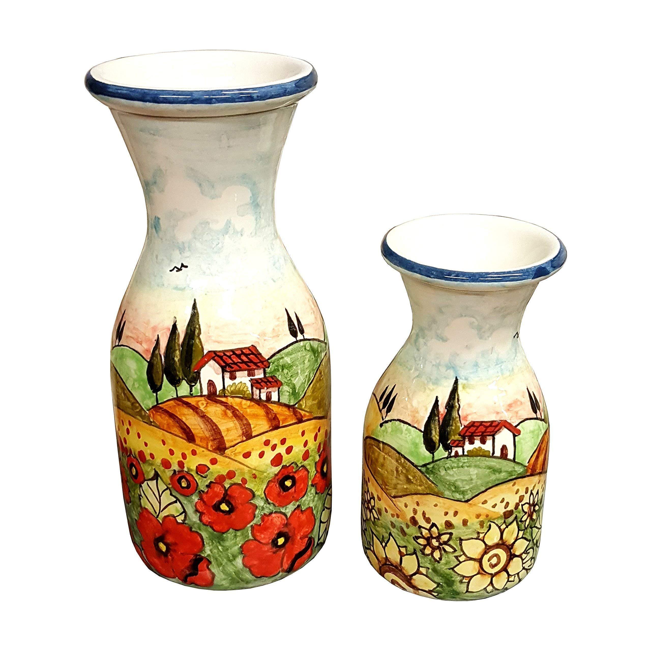 CERAMICHE D'ARTE PARRINI - Italian Ceramic Art Pottery Vase Jars Set Water Vine Hand Painted Made in ITALY Tuscan