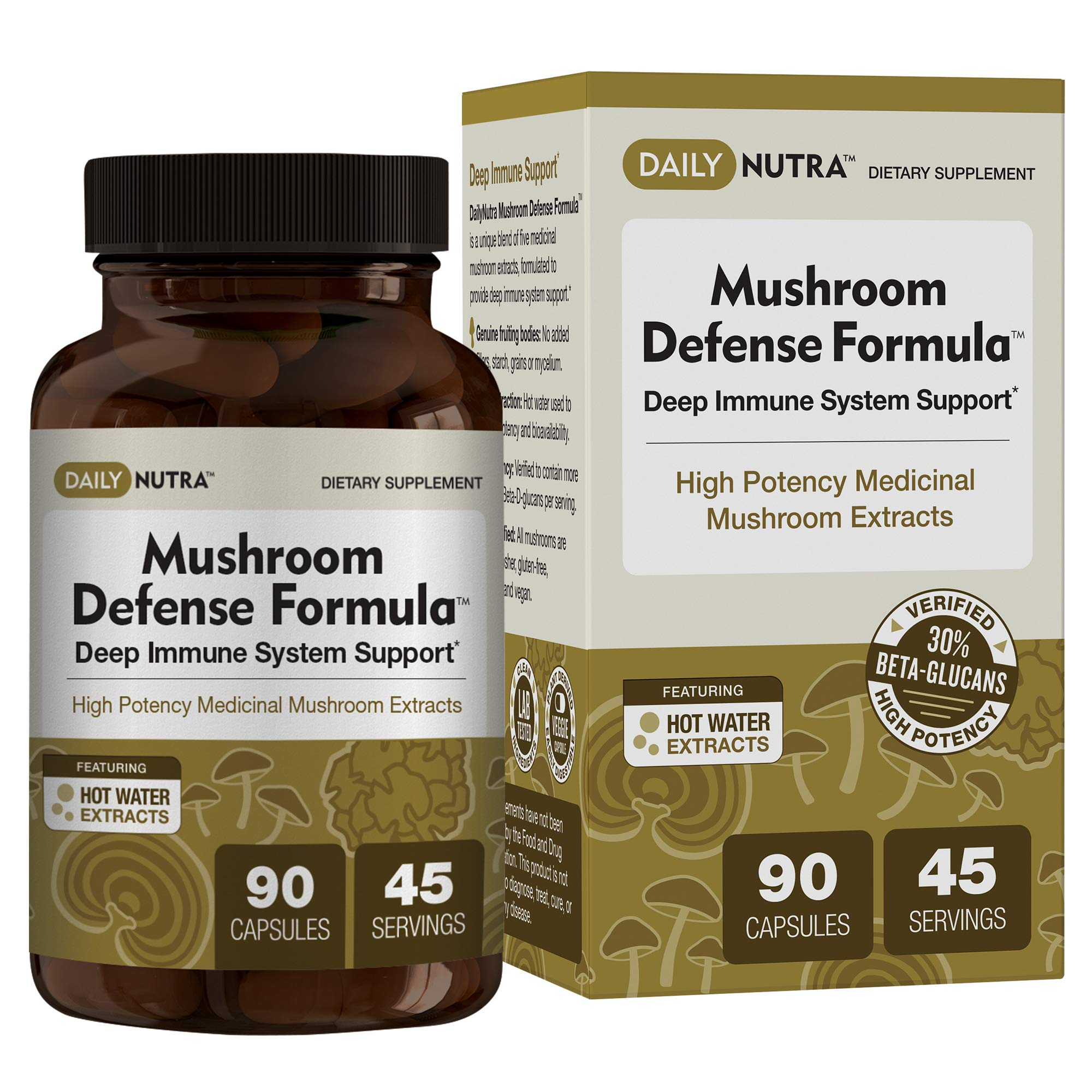 Mushroom Defense Formula - Deep Immune System Support - Medicinal Mushrooms Hot Water Extracted - Reishi, Chaga, Maitake, Shiitake & Turkey Tail by DailyNutra