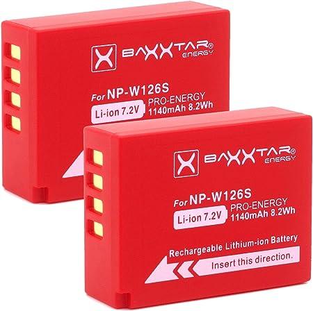 Baxxtar Pro (2X) Batería Compatible con Fujifilm NP-W126s NP-W126 (1140mAh) FinePix X100F X-A5 X-A7 X-A10 X-E3 X-H1 X-Pro1 X-Pro2 X-Pro3 X-T1 X-T2 X-T3 X-T10 X-T20 X-T30 X-T100 X-T200 y demás
