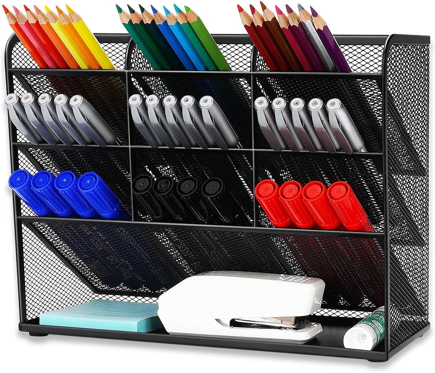 Wellerly Mesh Desk Organizer, Pencil Holder, Office Multi-Functional Desktop Organizer Collection - 9 Compartments with A Storage Rack - Markers Pen Holder for Office School Home Art Supply - Black
