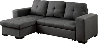 Esofastore Living Room Reversible Storage Chaise Sofa Gray Fabric Contemporary Sectional Converts into Bed