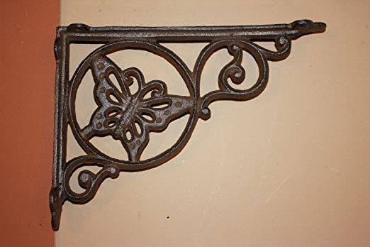 SET OF 6 LARGE HUMMINGBIRD SHELF BRACKET BRACE Rustic Antique Brown Iron
