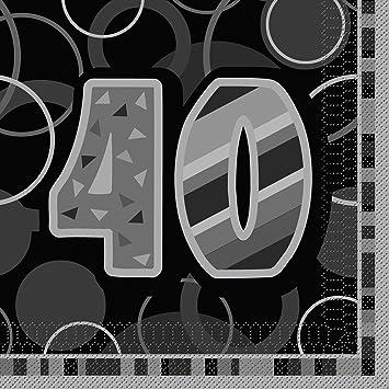 Unique Party Paquete de 16 servilletas de papel de 40 cumpleaños Color negro Edad (28481