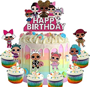 Set of Acrylic LOL Happy Birthday Cake Topper, LOL Cake Topper,Sweet Girls Themed Party Decoration Supplies, Girls Party Favor (7Pcs)