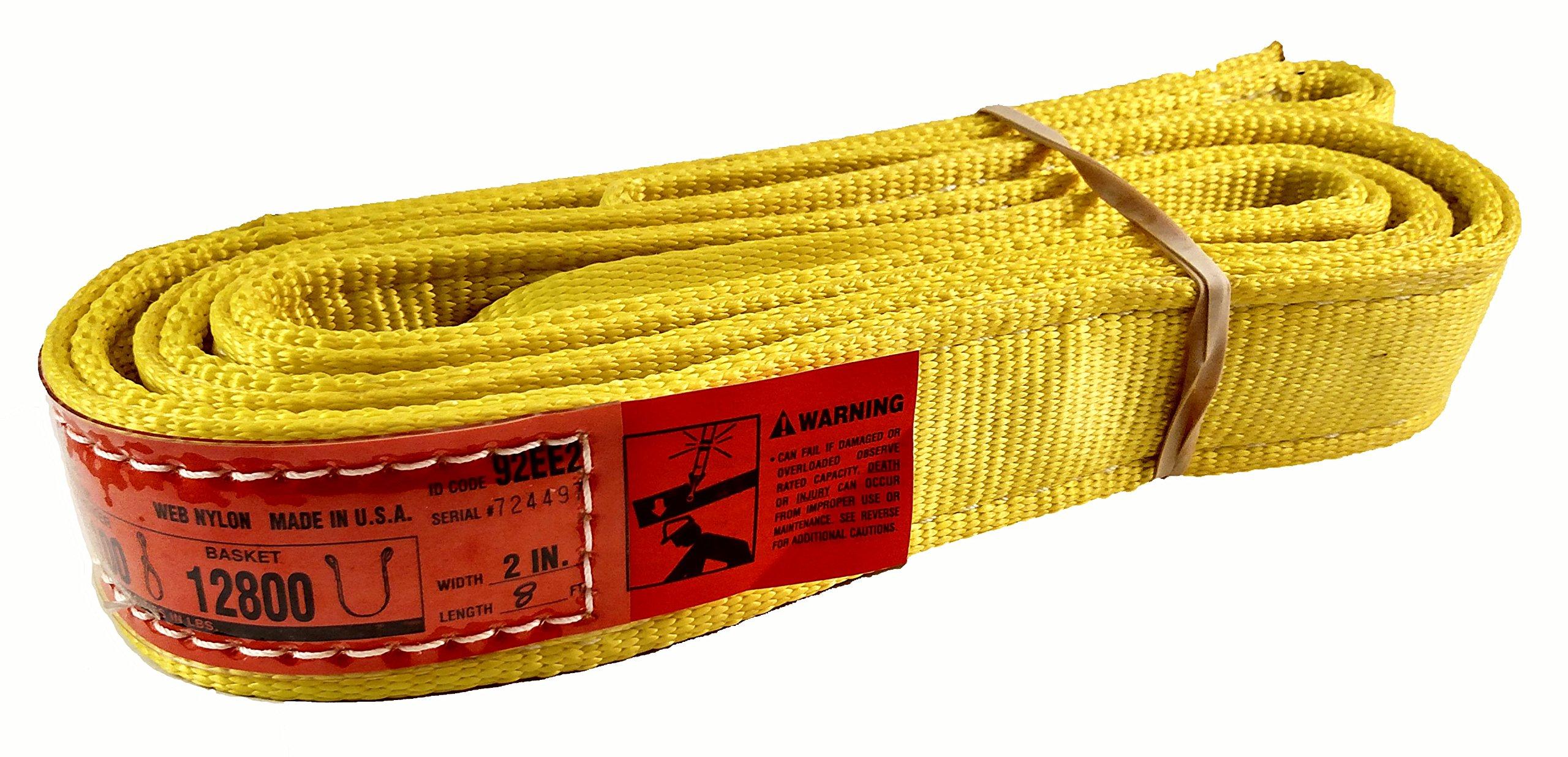 DD Sling (USA Made). 2'' wide X (4' to 20' lengths) in Listing! 2 Ply Twisted Eye, Nylon Lifting Slings, Eye & Eye, Heavy Duty (900 webbing), 6,400 lbs Vertical, 5,100 Choker, 12,800 Basket Load Capacity (2inX8ft)