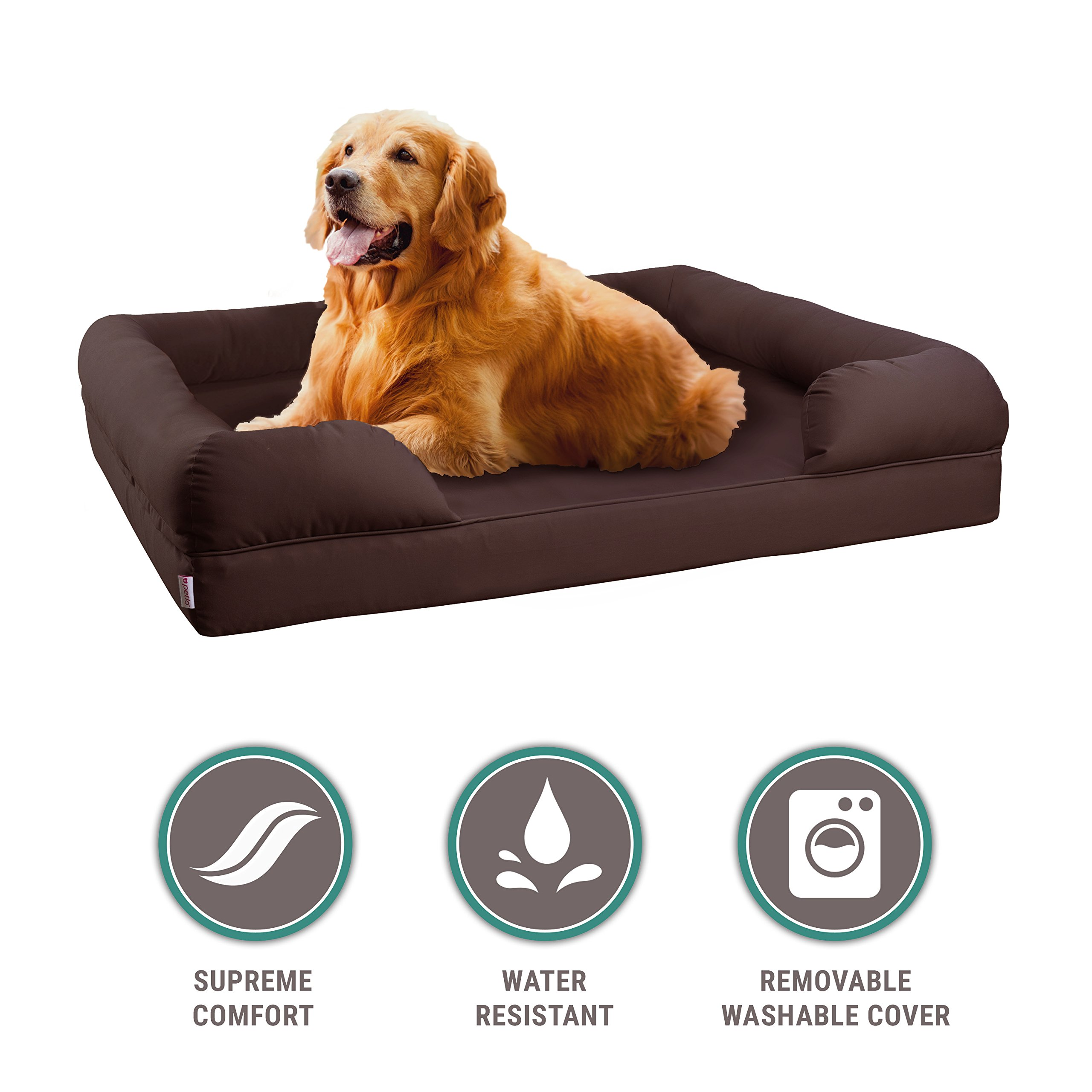 Petlo Orthopedic Pet Sofa Bed - Dog, Cat or Puppy Memory Foam Mattress Comfortable Couch for Pets with Removable Washable Cover (Large - 36'' x 28'' x 9'', Chocolate Brown)