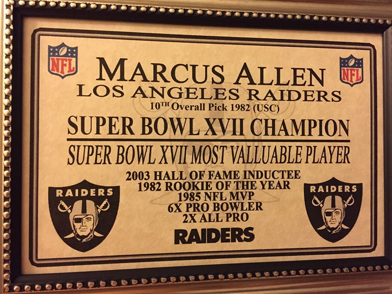 eb5827a2627 Premium Framed Marcus Allen Autographed Signed Raiders Jersey - JSA COA at Amazon s  Sports Collectibles Store