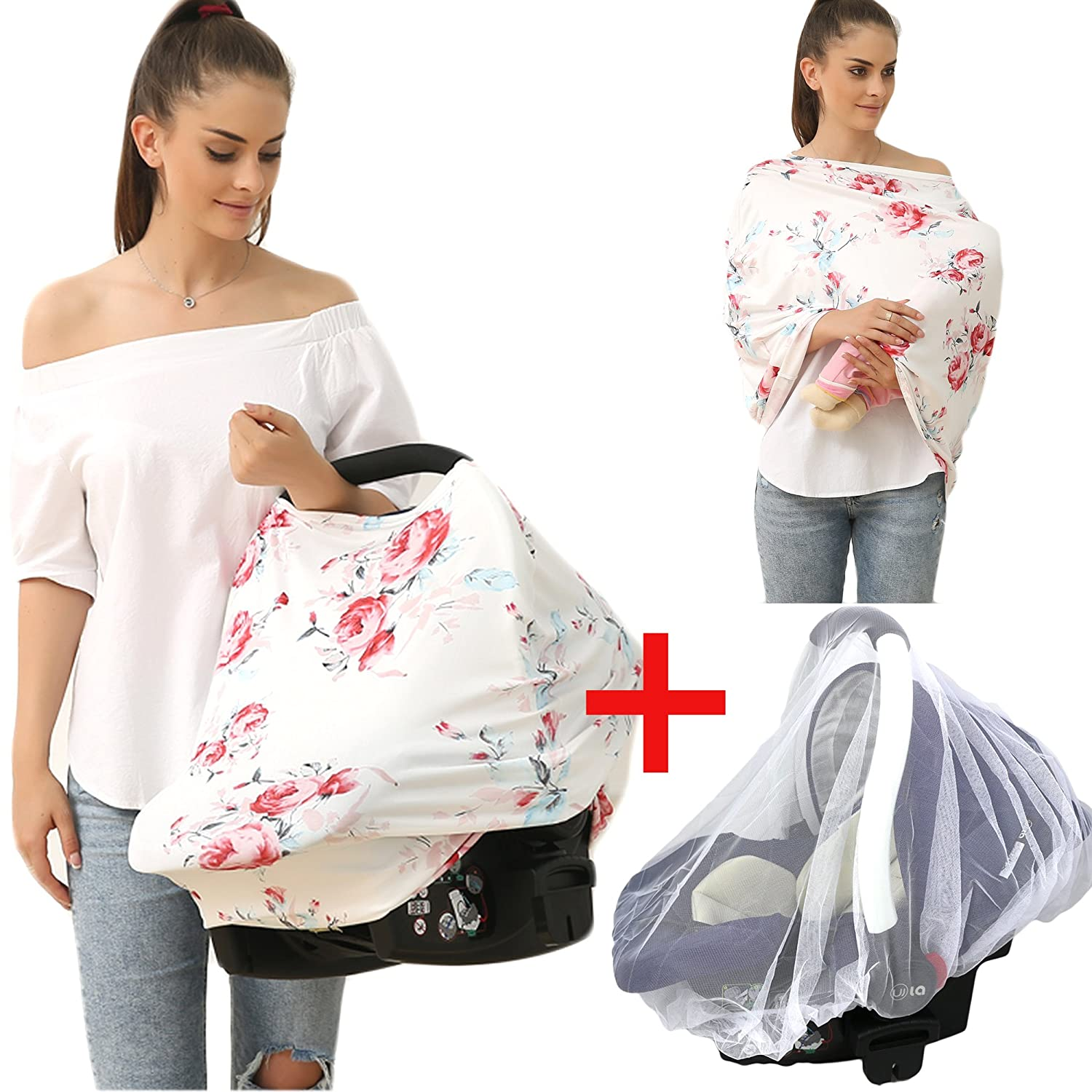 Privacy Baby car seat Covers - Stroller Canopy Nursing and Breastfeeding Covers, Multi-use carseat Canopy, for Boys and Girls Shower Gift (Print flower-02) Hicoco