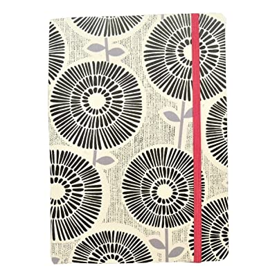 "Studio C Carolina Pad Narrow Ruled Textured Cover Notebook ~ She Means Business (Black and Gray Flowers; 5"" x 7""; 100 Sheets, 200 Pages; Elastic Closure): Toys & Games"