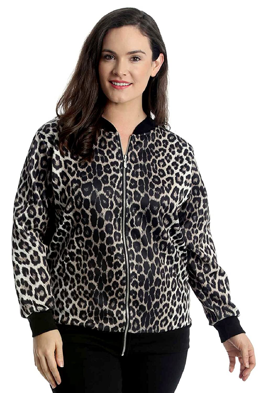 Nouvelle Collection. Womens Plus Size Bomber Jacket Ladies Animal Leopard Print Ribbed Cuffs Hem Zip Closure Coat
