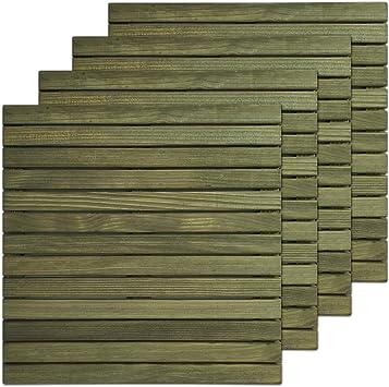 Loseta rígida en madera de Pino Melix con tratamiento Lasur Verde (Riesgo III), lamas lijadas y cepilladas - Suelo exterior (Pack de 4 unidades): Amazon.es: Bricolaje y herramientas