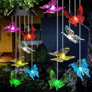 Solar Butterfly Wind Chimes,7 Color Changing Solar Wind Chime Light, Solar Powered Wind Chimes Waterproof, Butterfly Solar Lights Outdoor Decoration for Home Party Yard Porch Garden.