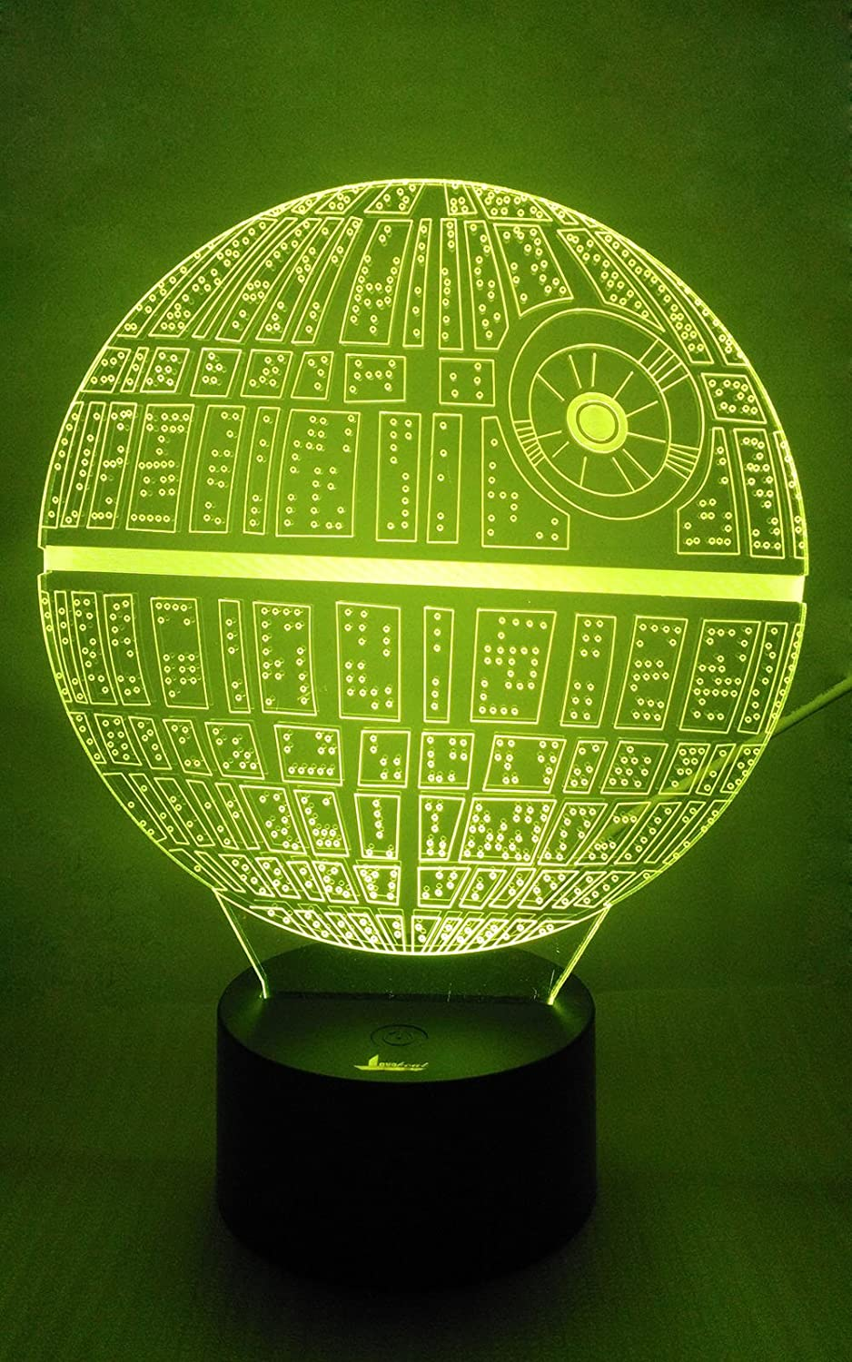 Death Star 3D Night Light LED Illusion Lamp Bedside Desk Table Lamp for Star Wars Fans, Loveboat 7 Color Changing Lights with Acrylic Flat and ABS Base and USB Charger as Home Decor