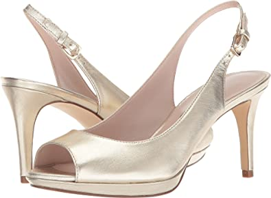 4e569e30db2 Nine West Women s Gabrielle Slingback Peep Toe Pump Light Gold Metallic 5  ...