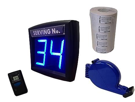 Dispensador de números de turno con visor de color azul (color único en el mundo