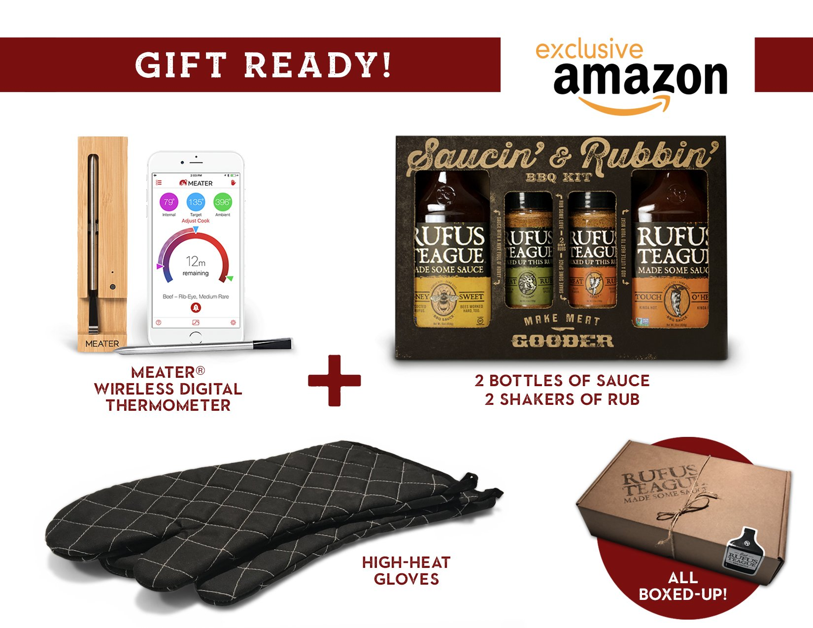 Rufus Teague House Warming Barbecue Gift Set Including One Meater Wireless Thermometer, BBQ Sauce Gift Pack and Extra Long BBQ Gloves. Amazon Exclusive-Limited Availability.