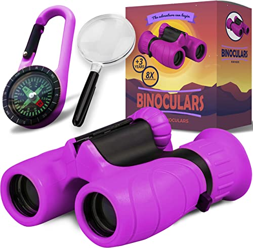 Promora Binoculars for Kids – Powerful Magnification of 8 X 21 – The Perfect Toy for Little Adventurers – Extensive Set Including Magnifying Glass Compass