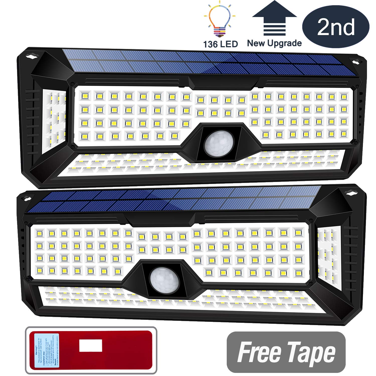 Solar Lights Outdoor, Wireless 136LED Lights of 4 Sides with Wide Lighting Area,Super Bright,Easy Installation ,Waterproof Security Lights for Front Door, Garden, Patio,Yard(2 Pack)