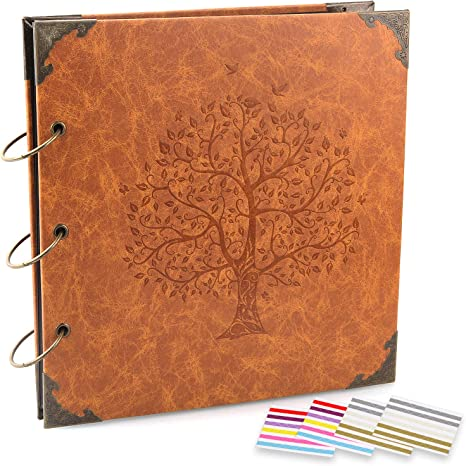 Vintage Leather Cover Three-Ring Binder Picture Booth Family Tree Brown Sugar 408pcs Self Adhesive Photos Corners for Memory Keep ADVcer Photo Album DIY Scrapbook 10x10 inch 50 Pages Double Sided