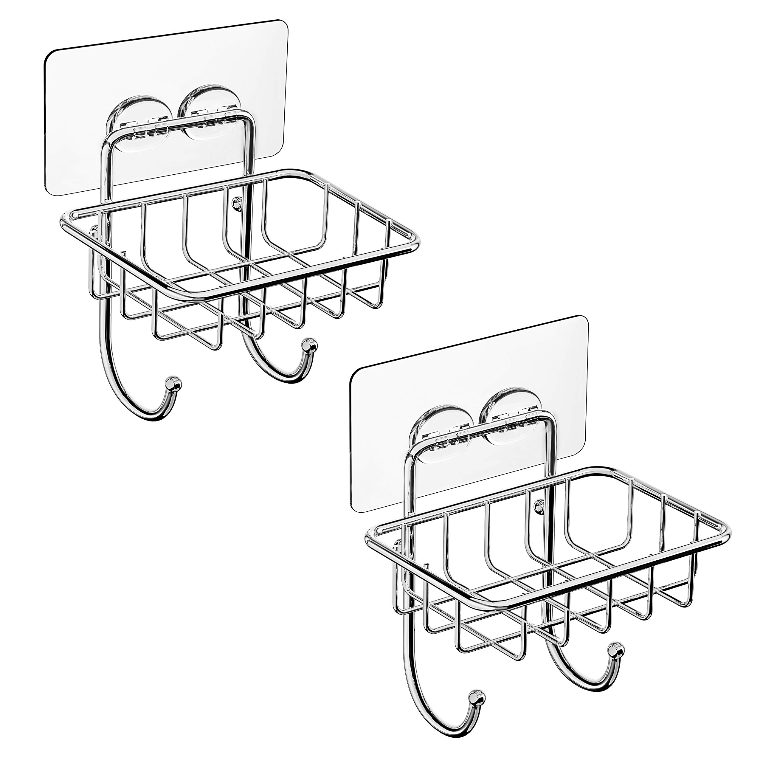 SMARTAKE 2-Pack Soap Dish, Stainless Steel Soap Holder with 2 Hooks, Wall Mounted Soap Dishes with Adhesive for Bathroom, Toilet, No Drilling by SMARTAKE