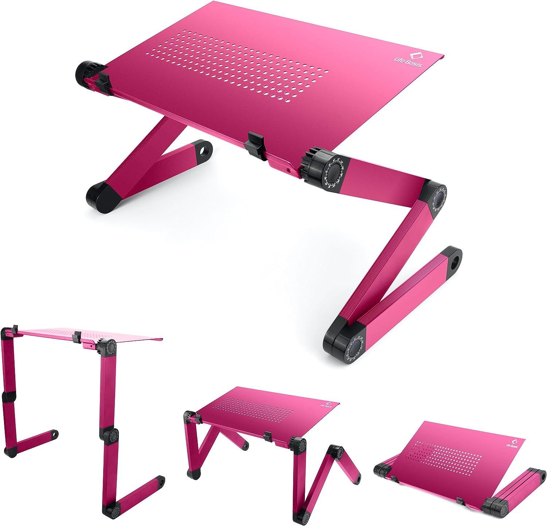 LifeBasis Table de Lit Pliable Table Ordinateur R/églable Compacte L/ég/ère pour PC Portable Plateau Table de Lecture pour Ultrabook Livre Magazine et Petit D/éjeuner Rose