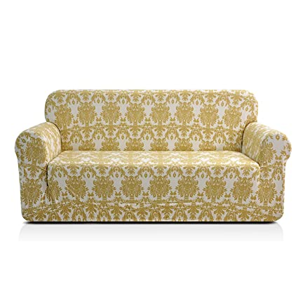 Marvelous Chun Yi 1 Piece Stylish Printed Polyester Spandex Fabric Sofa Slipcover Soft Elastic Couch Cover Furniture Protector For 3 Seats Sofa Sofa Yellow Short Links Chair Design For Home Short Linksinfo