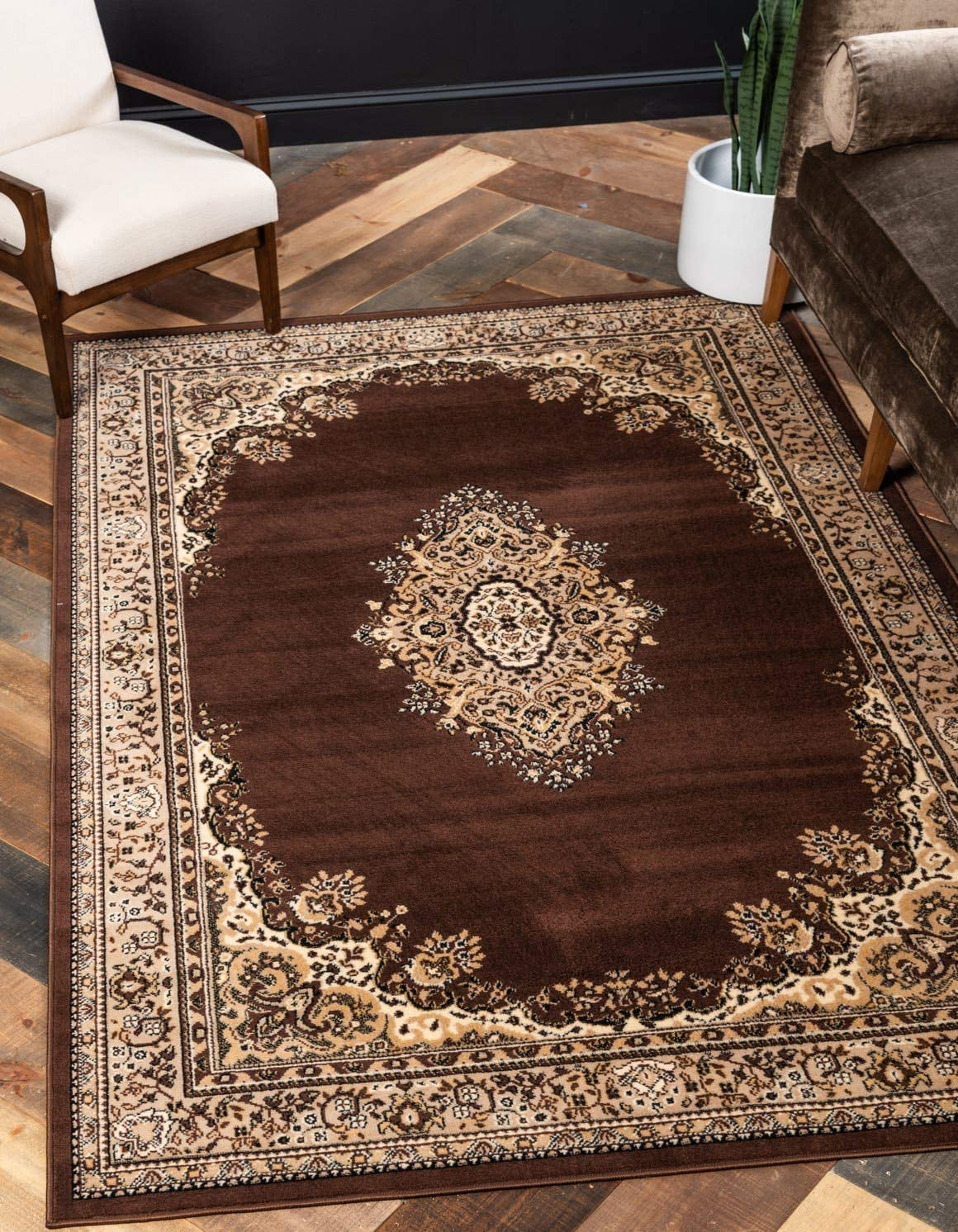 Unique Loom Reza Collection Classic Traditional Brown Area Rug 9 0 x 12 0