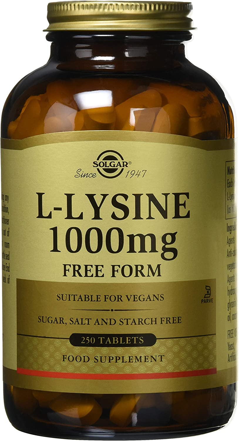 Solgar L-Lysine 1000 mg, 250 Tablets - Enhanced Absorption and Assimilation - Promotes Integrity of Skin and Lips - Collagen Support - Amino Acids - Non-GMO, Vegan, Gluten Free - 250 Servings: Health & Personal Care