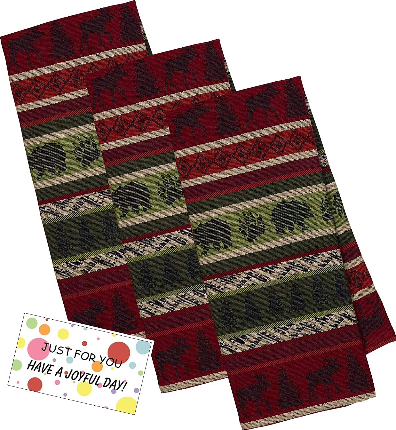 DII Design Imports Black Bear and Moose Kitchen Hand Towels Jacquard Dish Towels - Set of 3 Mountain Woods Stripe Cabin Dish Towels, Rustic Bear and Moose Decor for Camper Kitchen with Gift Tag