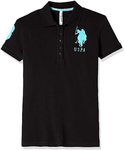 US POLO Women's Band Collar T-Shirt Tees at amazon