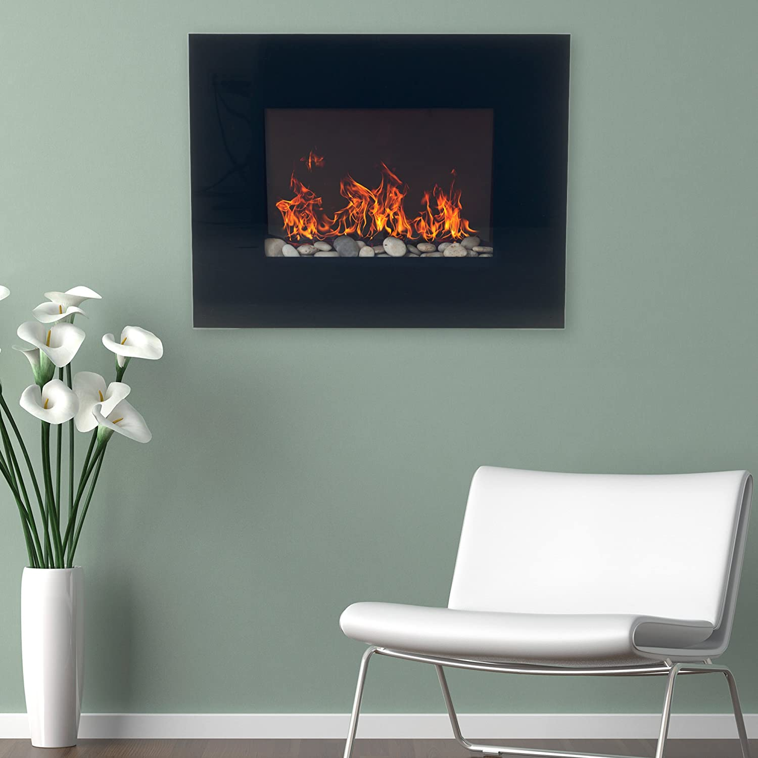 Midnight 32  Northwest 25  Mini Curved Black Fireplace with Wall and Floor Mount Midnight