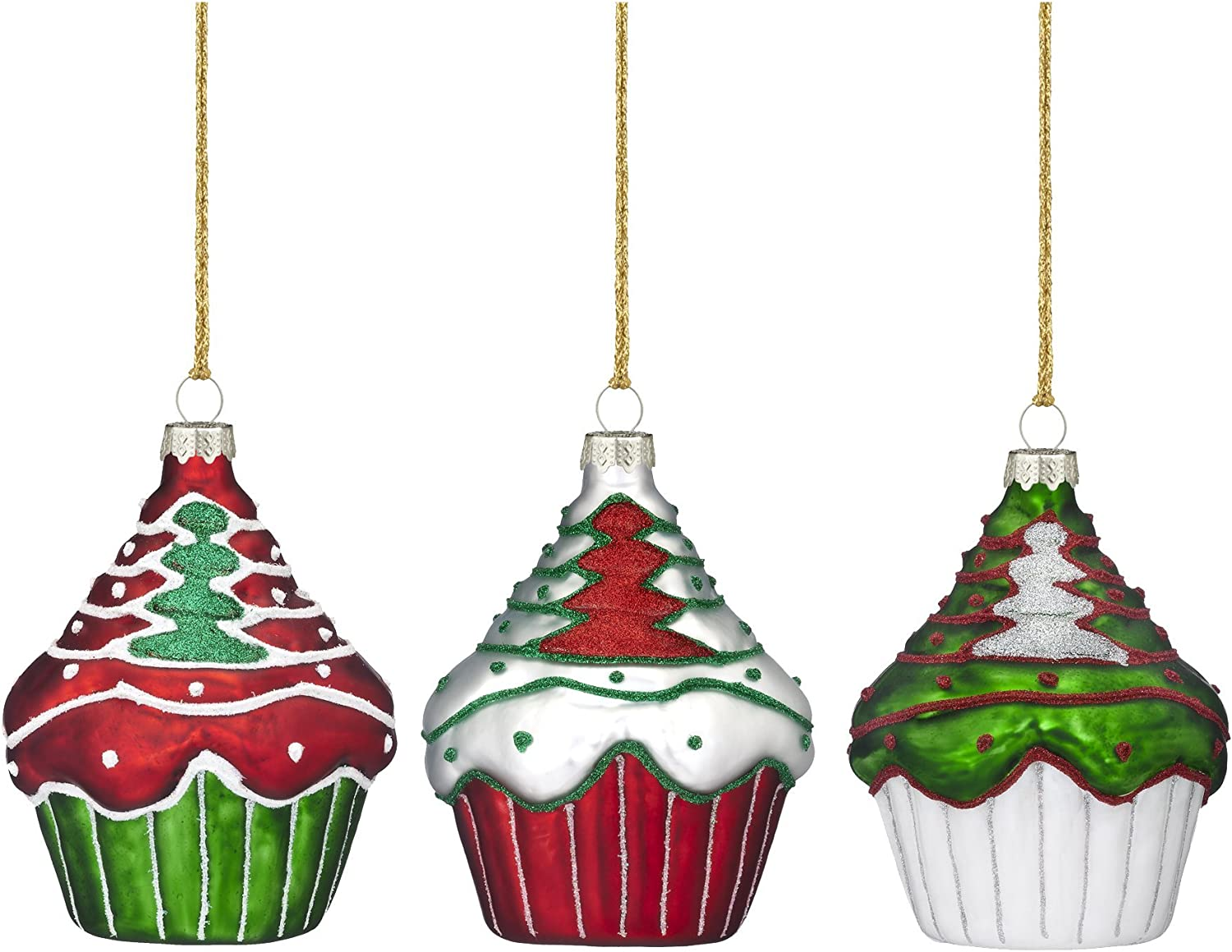 Amazon Com Marquis By Waterford Christmas Cupcake Ornaments Set Of 3 Home Kitchen