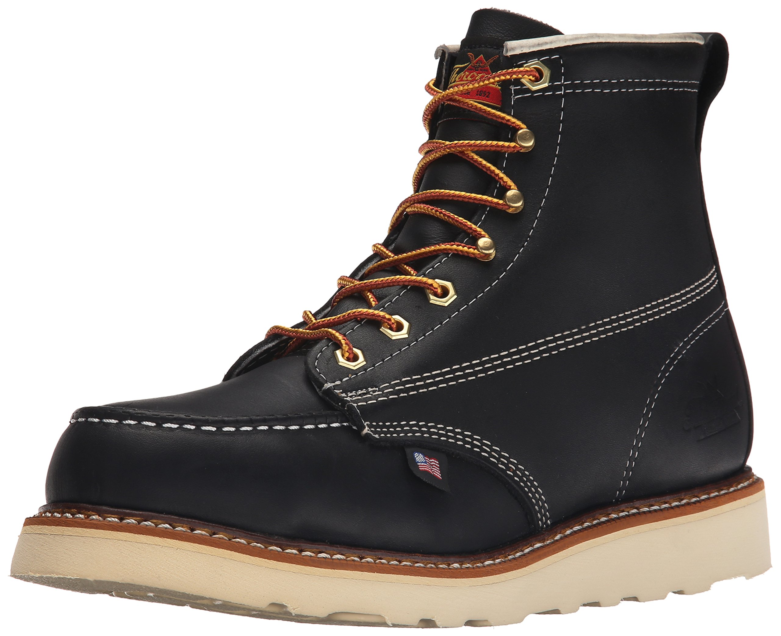 Thorogood Men's American Heritage Safety Toe Lace-Up Boot, Black, 10.5 2E US