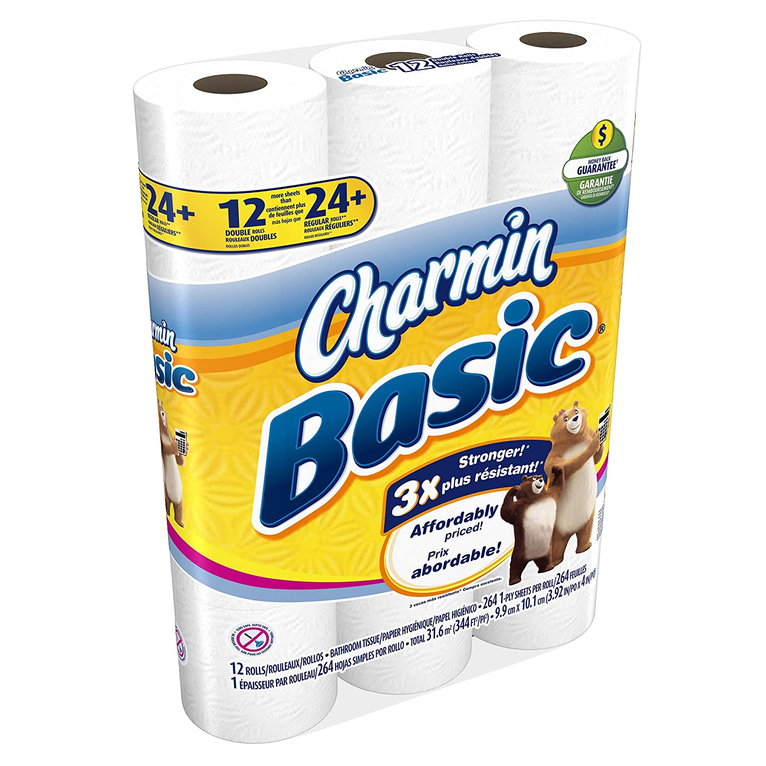 Amazon.com : Charmin Basic Toilet Paper - Double Roll - 12 pk : Bathroom Tissue : Grocery & Gourmet Food