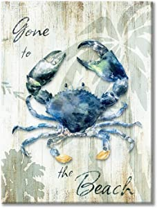 Blue Crab Canvas Wall Art: Abstract Modern Marine Artwork with Wooden Texture Painting for Bedroom (24'' x 18'' x 1 Panel)