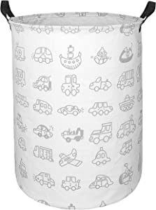 KUNRO Large Sized Storage Basket Waterproof Coating Organizer Bin Laundry Hamper for Nursery Clothes Toys (car)