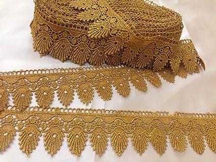 GOLD BEAUTIFUL GUIPURE LACE TRIM EDGING 9.5 cm X 1 Yard 3.75/'/' Inch