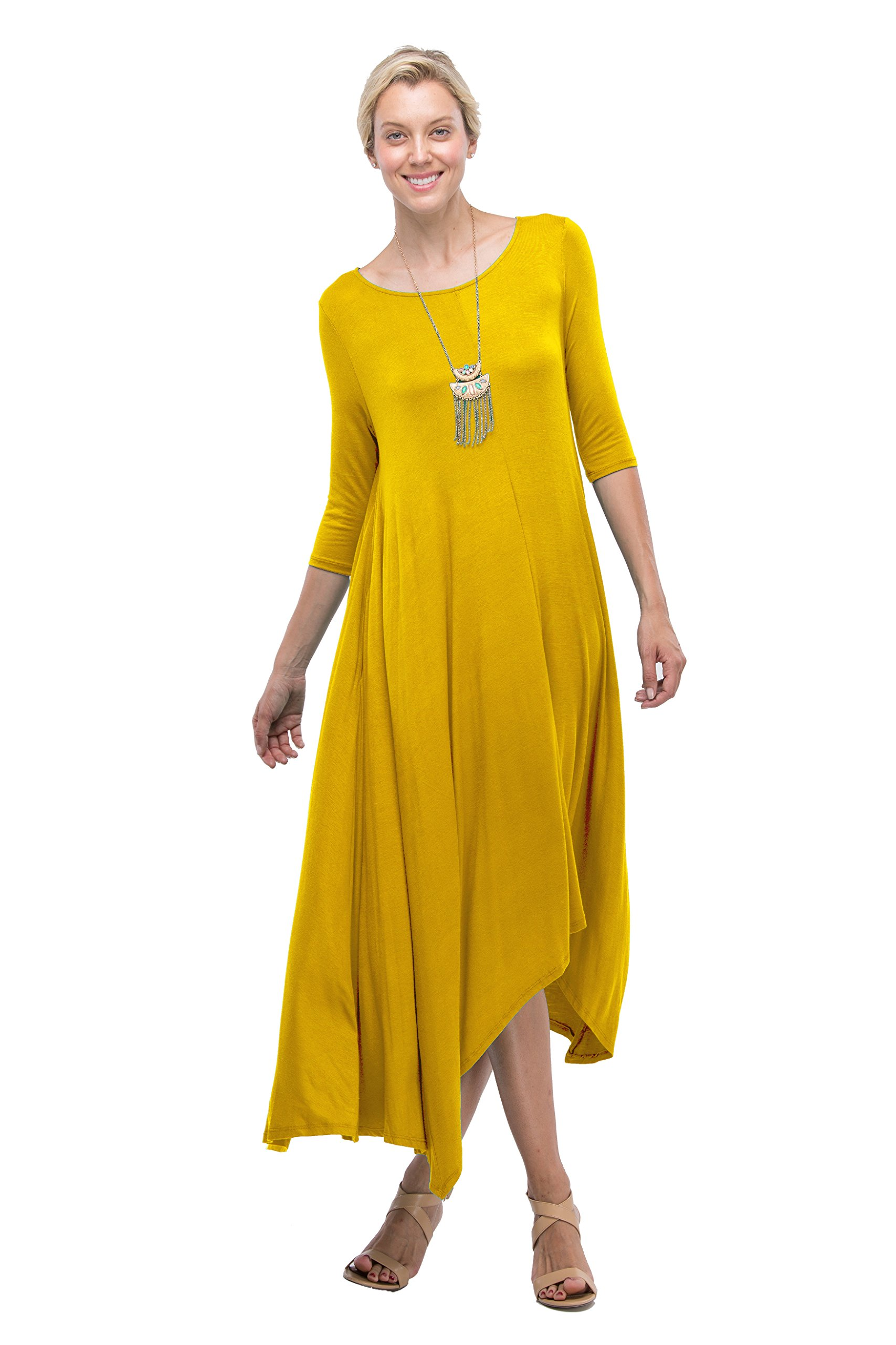 Love In D6190C 3/4 Long Sleeve Round Neck High Low Flared Maxi Dress W/Pocket Mustard L