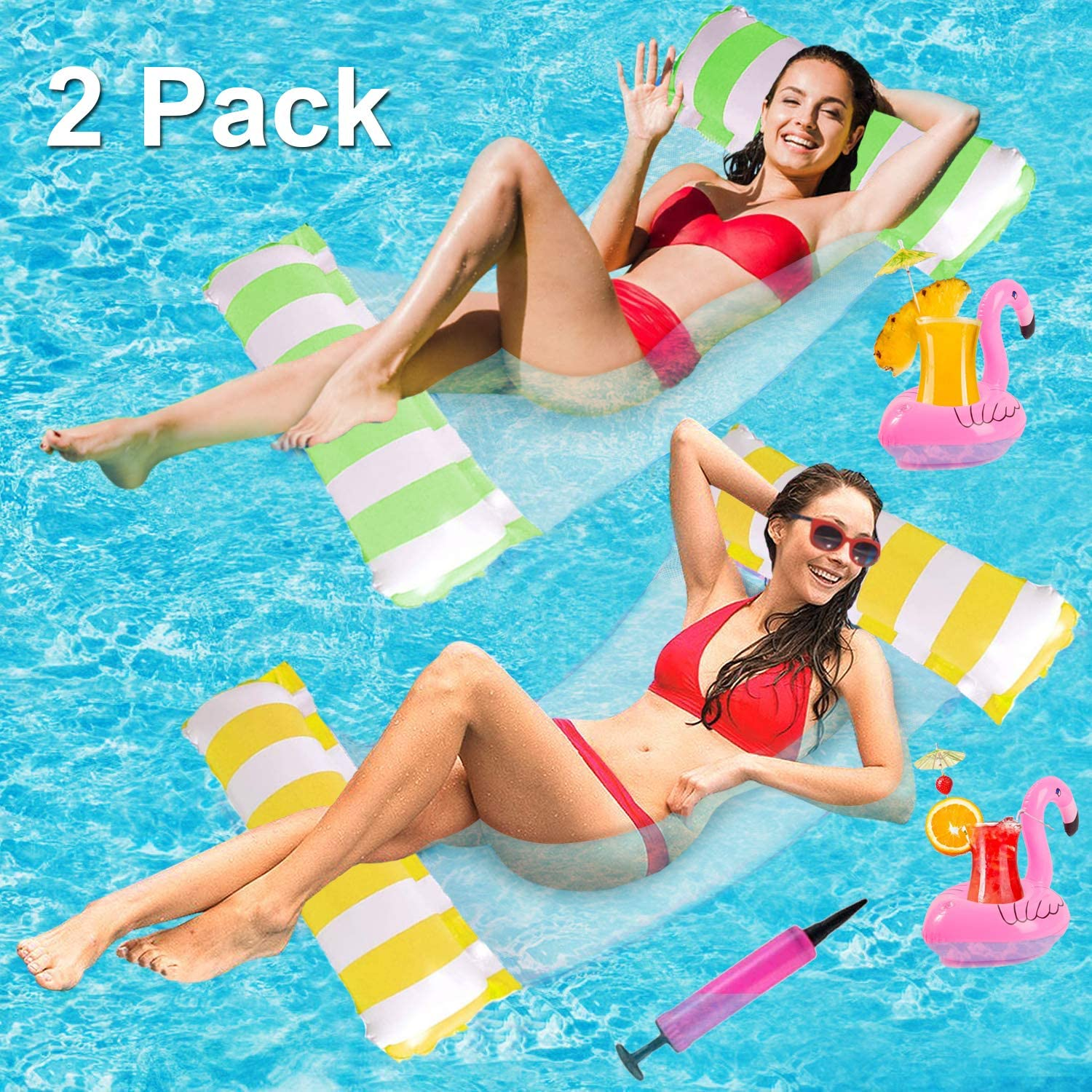 Inflatable Portable Pool Floats for Adults Floating Hammock for Pool Swimming with Air Pump and 2 Cup Holders Xnuoyo 2 Pcs Water Hammock Float Blue+Yellow
