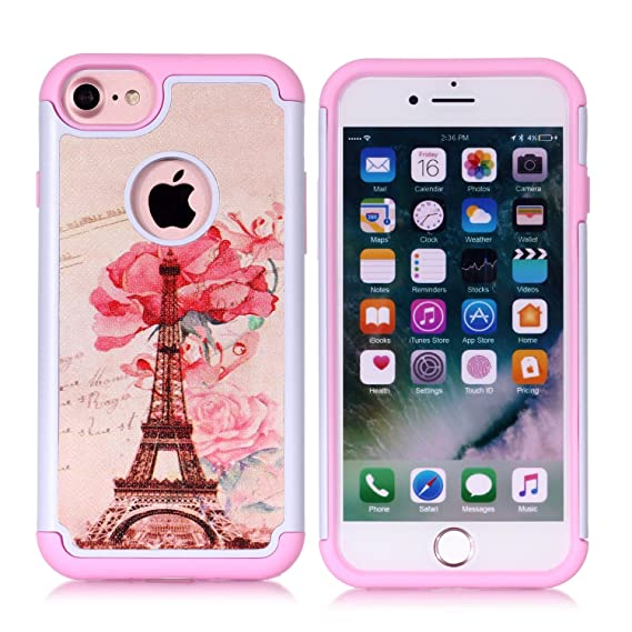 24075e6a55 iPhone 8 Case,iPhone 7 Cover - Paris Eiffel Tower Pattern Shock-Absorption  Hard