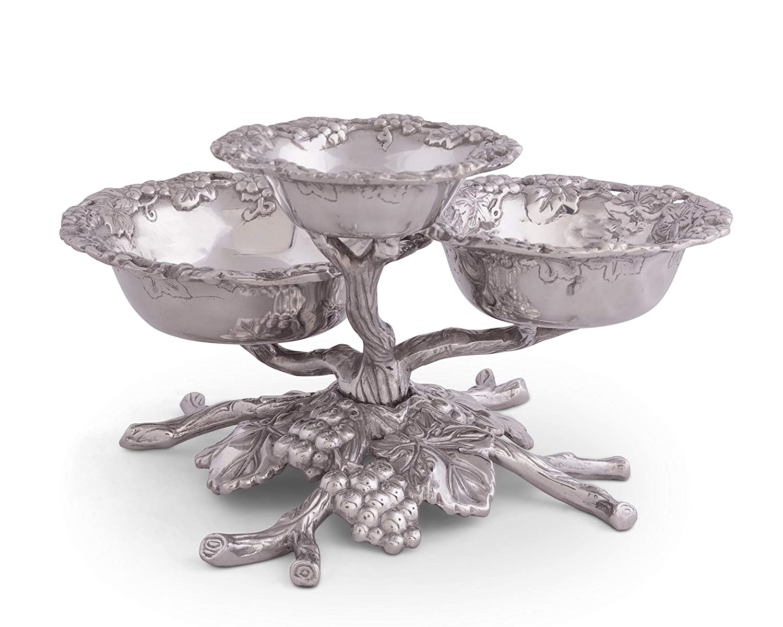 Arthur Court Designs Aluminum Grape Tiered 3-Bowls