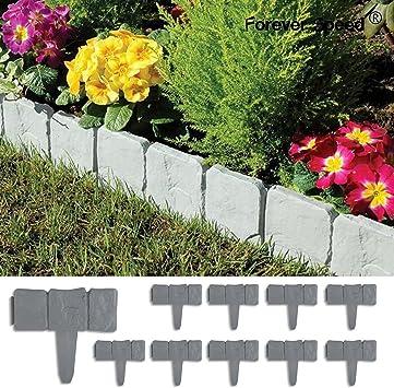 Forever Speed 10 Piezas Empalizada para Jardines Stone Efecto de Plástico en Patio Bordes Border Lakeland Borde de Jardín: Amazon.es: Jardín