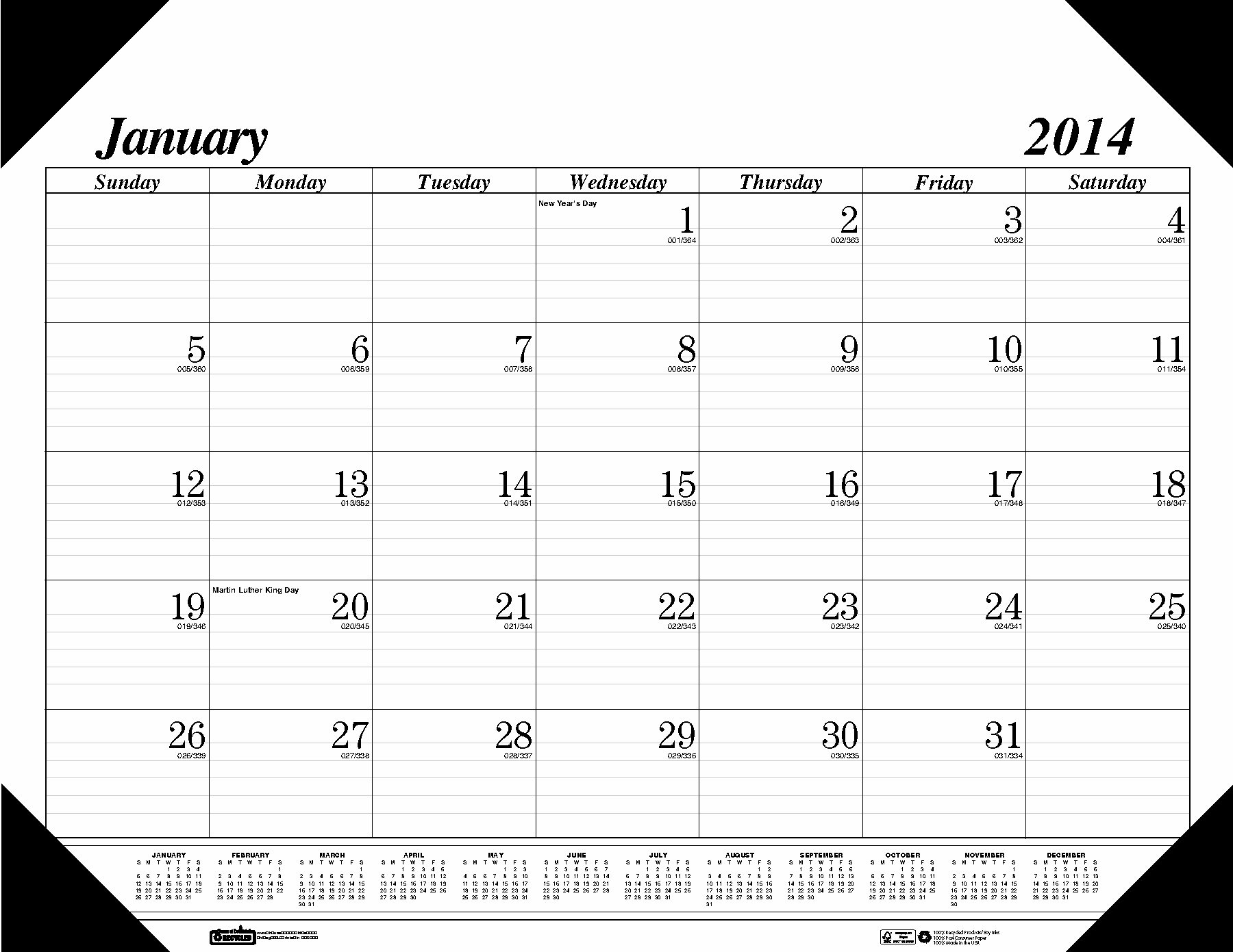 House of Doolittle Economy Refillable Desk Pad Calendar, 12 Months January 2014 to December 2014, Black Corners, Recycled (HOD124)